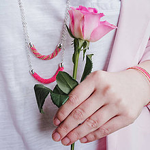Náhrdelníky - SNAKE ružový dlhý náhrdelník - 11004184_