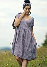 Šaty - Lněné šaty zavinovací Lila - 11003816_