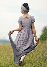 Šaty - Lněné šaty zavinovací Lila - 11003817_
