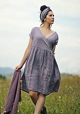 Šaty - Lněné šaty zavinovací Lila - 11003818_