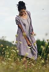 Šaty - Lněné šaty zavinovací Lila - 11003819_