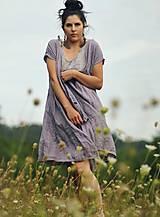 Šaty - Lněné šaty zavinovací Lila - 11003820_