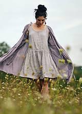 Šaty - Lněné šaty zavinovací Lila - 11003821_