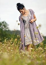 Šaty - Lněné šaty zavinovací Lila - 11003822_