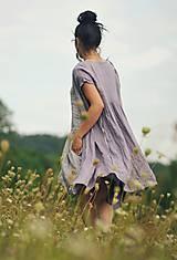 Šaty - Lněné šaty zavinovací Lila - 11003824_