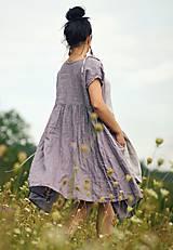 Šaty - Lněné šaty zavinovací Lila - 11003825_