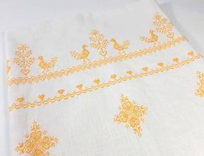 Úžitkový textil - Ľanová prikrývka -  žltá folk vyšívaná - 11004605_