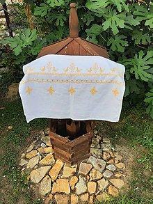 Úžitkový textil - Ľanová prikrývka -  žltá folk vyšívaná - 11004779_