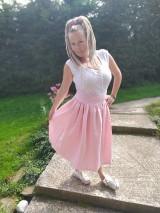 Sukne - Cukríkovo rúžová ľanová sukňa - 11005059_
