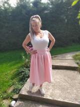 Sukne - Cukríkovo rúžová ľanová sukňa - 11005060_