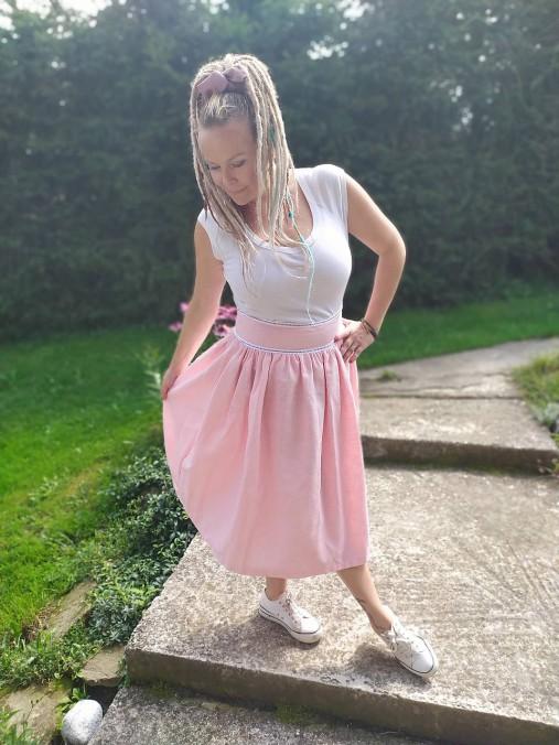Cukríkovo rúžová ľanová sukňa
