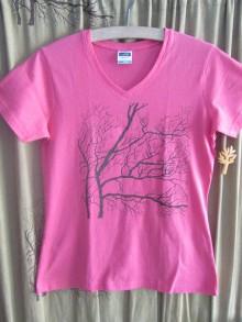 Tričká - Stromokresba na ružovom - 11008100_