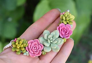 Náhrdelníky - Náhrdelník SUKULENT - Pink garden II. - 11007717_
