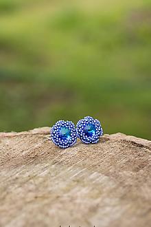 Náušnice - Kvietky modré - 11007544_