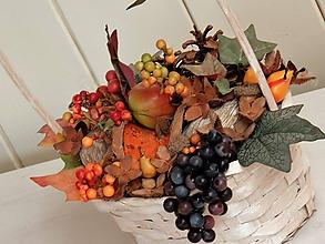 Dekorácie - Jesenná dekorácia, jesenný aranžmán, jesenný košík - 11008087_