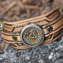 Náramky - Vintage svetlé kožené hodinky hnedé - 11006676_