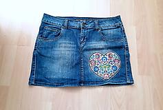 Sukne - riflová sukňa folkové ♥ - 11008172_