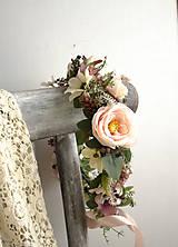 Ozdoby do vlasov - Kvetinový venček ,,ružový,,  - 11007587_