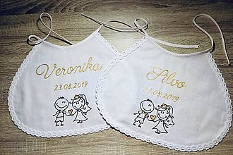 Iné doplnky - Set 2ks Maľované veselé svadobné podbradníky - zlatá verzia - 11008026_