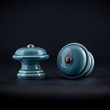 Nábytok - Úchytka - knopka modrá střední - vzor HLADKÝ - 11006726_