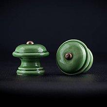 Nábytok - Úchytka - knopka zelená střední - vzor HLADKÝ - 11006741_