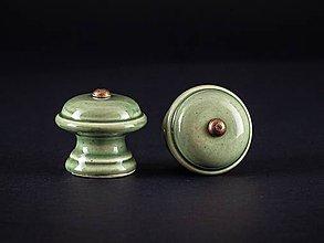 Nábytok - Úchytka - knopka olivová střední - vzor HLADKÝ - 11006904_