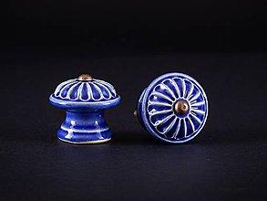 Nábytok - Úchytka - knopka královská modř střední - vzor KOPRETINA - 11006933_