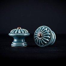 Nábytok - Úchytka - knopka modrá střední - vzor KOPRETINA - 11006968_