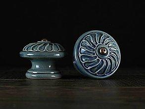 Nábytok - Úchytka - knopka modrá - vzor VĚTRNÍK - 11007268_