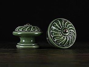 Nábytok - Úchytka - knopka zelená velká - vzor VĚTRNÍK - 11007275_