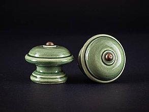 Nábytok - Úchytka - knopka olivová velká - vzor HLADKÝ - 11007805_