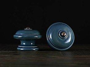 Nábytok - Úchytka - knopka modrá velká - vzor HLADKÝ - 11007966_