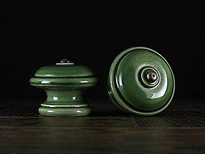 Nábytok - Úchytka - knopka zelená velká - vzor HLADKÝ - 11007984_