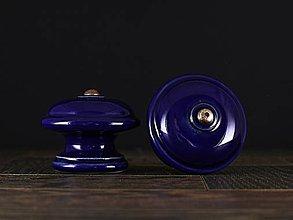 Nábytok - Úchytka - knopka kobalt velká - vzor HLADKÝ - 11008071_
