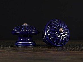 Nábytok - Úchytka - knopka kobalt velká - vzor KOPRETINA - 11008584_