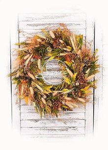 Dekorácie - Jesenný veniec so sušinou - 11005961_