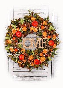 Dekorácie - Jesenný mega veniec s jabĺčkami a hruškami - 11005962_