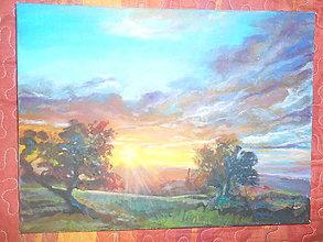Obrazy - Západ slnka medzi stromami - 11008870_