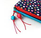 Taštičky - Dvojtaštička Bodky (hexagóny) na modrej - 11008303_