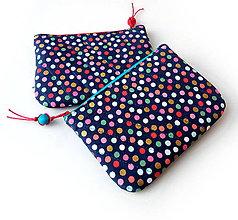Taštičky - Dvojtaštička Bodky (hexagóny) na modrej - 11008305_
