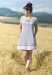 Šaty - Šedé fáčové s kytičkami - 11005957_