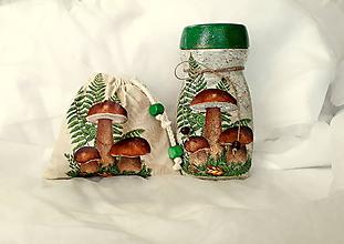Nádoby - vrecúško + dóza na sušené huby - 11006183_