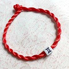 Náramky - Lucky Red Zodiac Sign Bracelet / Náramok proti urieknutiu so symbolom znamenia (Blíženec) - 11010133_