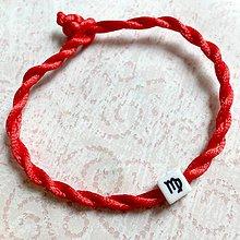 Náramky - Lucky Red Zodiac Sign Bracelet / Náramok proti urieknutiu so symbolom znamenia (Panna) - 11010137_
