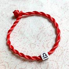 Náramky - Lucky Red Zodiac Sign Bracelet / Náramok proti urieknutiu so symbolom znamenia (Váhy) - 11010138_