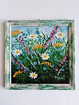 Lúčne kvety - olejomaľba 20x20cm