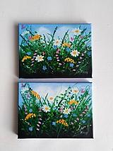 Lúčne kvety - olejomaľba -dvojobraz