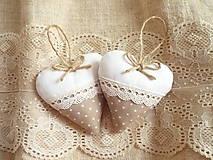Darčeky pre svadobčanov - Svadobné srdiečka ,hnedá s krémovou - 11010050_