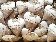Darčeky pre svadobčanov - Svadobné srdiečka ,hnedá s krémovou - 11010053_