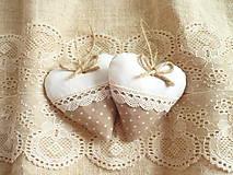 Darčeky pre svadobčanov - Svadobné srdiečka ,hnedá s krémovou - 11010055_